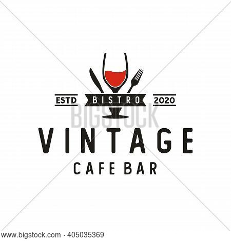 Wine Glass Spoon Fork Knife Restaurant Vintage Retro Bar Bistro Logo Design
