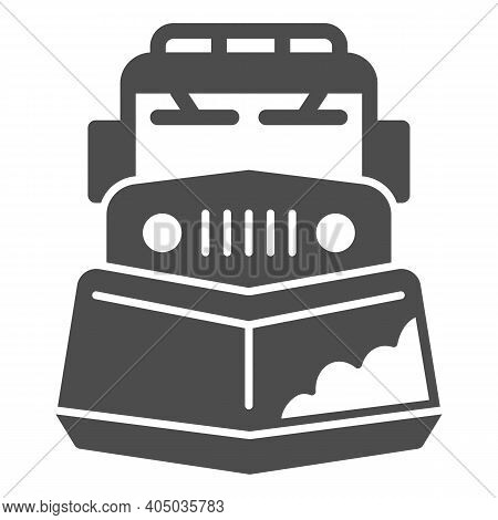 Snow Plow Truck Solid Icon, Winter Season Concept, Snow Removal Machine Sign On White Background, Sn
