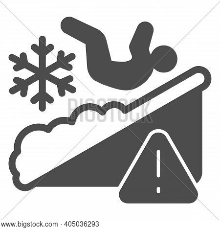 Man Falls On Ice Solid Icon, Winter Season Concept, Slippery Ice Sign On White Background, Fallen Pe