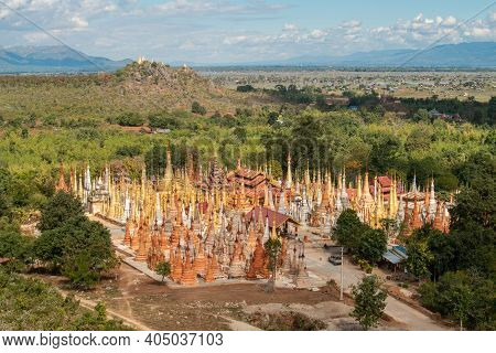 The Scenery View Of Shwe Indein Pagoda (or Shwe Inn Thein Pagoda), Indein Is A Small Village West Of