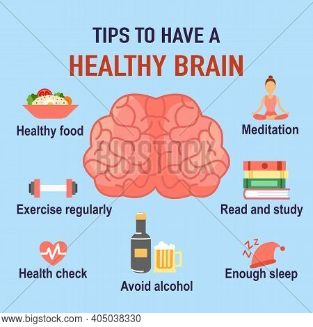 Tips To Have A Healthy Brain Infographic. Human Brain With Useful Advice In Flat Design. Alzheimer's