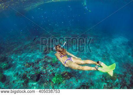 Active Teenage Girl Jump, Dive Underwater In Tropical Coral Reef Pool. Travel Lifestyle, Water Sport