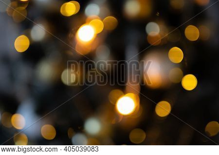 Colorful Defocused Bokeh Lights In Blur Night Background. Blurred Background Of Nightscape And Bokeh