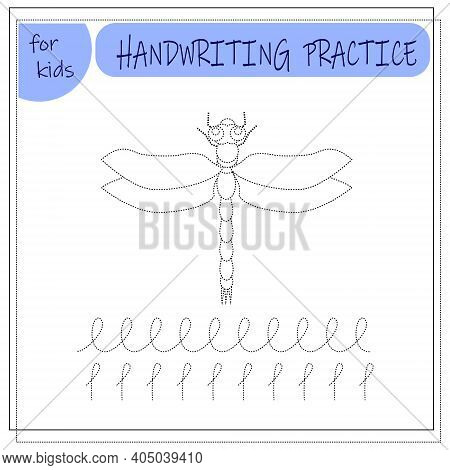 Handwriting Training Game For Kids. Circle The Dragonfly