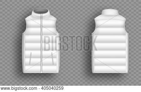 White Winter Puffer Vest, Sleeveless Jacket Mockup Set, Vector Illustration. Realistic Down Vest, Fr