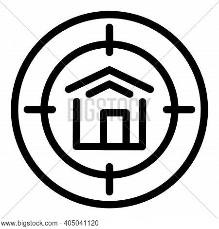 Target House Icon. Outline Target House Vector Icon For Web Design Isolated On White Background