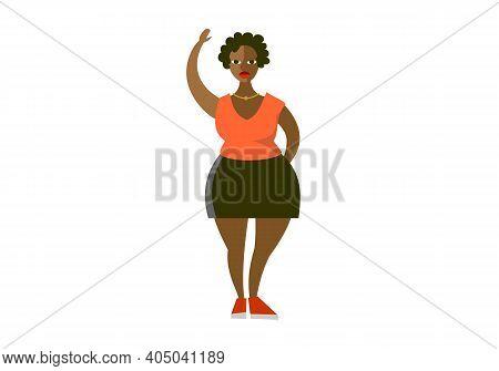 Plump Curvy African American Woman Flat Vector Illustration. Plus Size Cartoon Character Wearing Blo