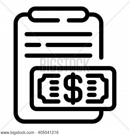 Price Rent Contract Icon. Outline Price Rent Contract Vector Icon For Web Design Isolated On White B