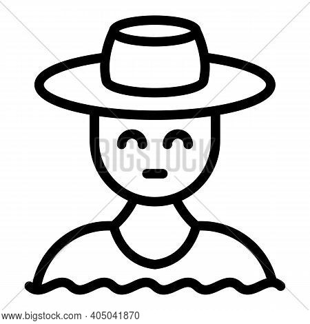 Floating Market Seller Icon. Outline Floating Market Seller Vector Icon For Web Design Isolated On W