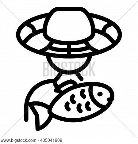 Fish Seller Icon. Outline Fish Seller Vector Icon For Web Design Isolated On White Background