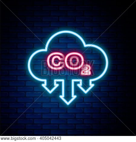 Glowing Neon Line Co2 Emissions In Cloud Icon Isolated On Brick Wall Background. Carbon Dioxide Form