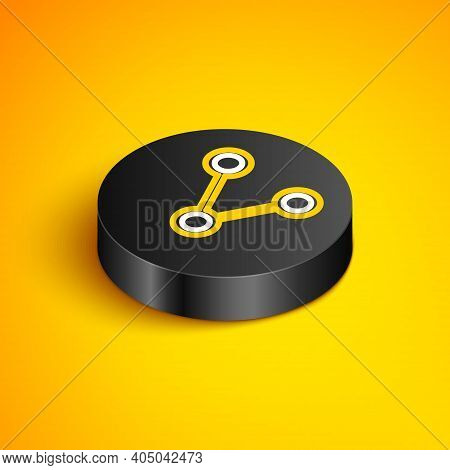 Isometric Line Share Icon Isolated On Yellow Background. Share, Sharing, Communication Pictogram, So