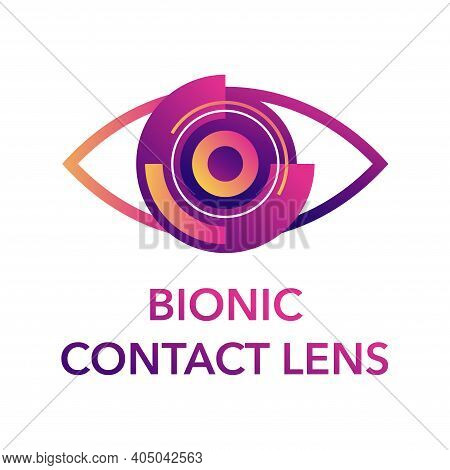 Bionic Contact Lens Logo Template. Medical Label With Cataract Implant, Clouded Lens, Cornea, Incisi