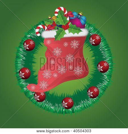 Christmas Wreath With Santa Sock