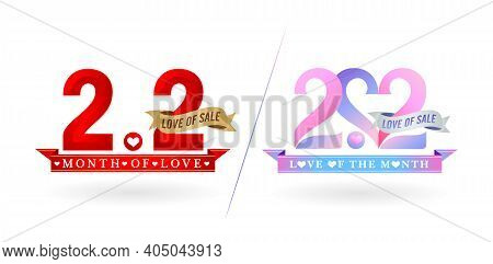 2.2 Sale, 2.2 Online Sale, Month Of Love Sale Gradient Red With Golden Ribbon And Pink Purple With S