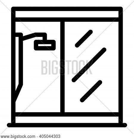 Shower Stall Glass Icon. Outline Shower Stall Glass Vector Icon For Web Design Isolated On White Bac