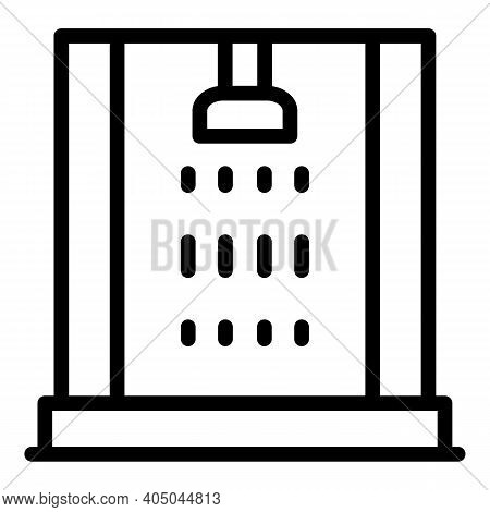 Room Shower Cabin Icon. Outline Room Shower Cabin Vector Icon For Web Design Isolated On White Backg