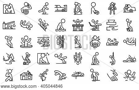 Careless Person Icons Set. Outline Set Of Careless Person Vector Icons For Web Design Isolated On Wh