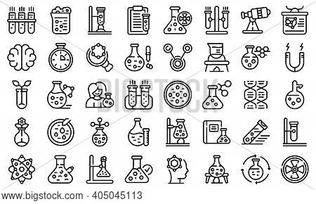 Research Scientist Icons Set. Outline Set Of Research Scientist Vector Icons For Web Design Isolated