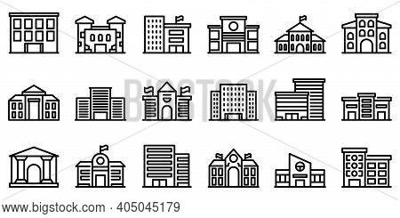 Campus Icons Set. Outline Set Of Campus Vector Icons For Web Design Isolated On White Background