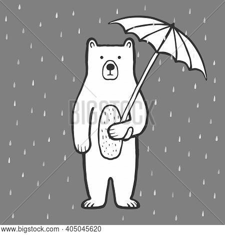 Cute Bear With Umbrella. Rain. Doodle, Sketch, Childish Illustration. Cartoon Character Of A Bear. H