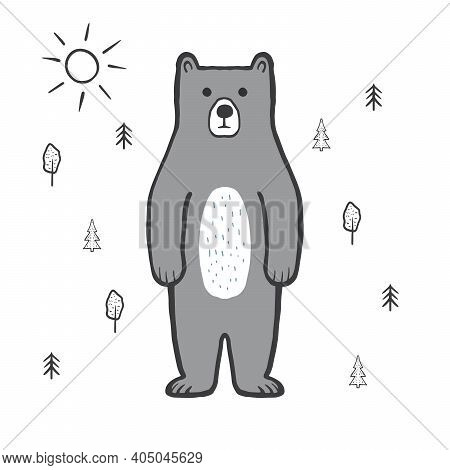 Cute Bear In The Forest, Sun. Doodle, Sketch, Childish Illustration. Cartoon Character Of A Gray Bea
