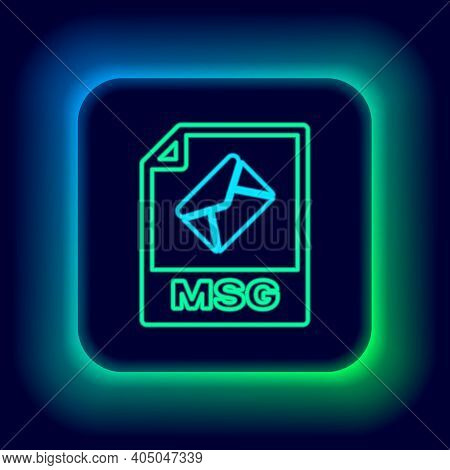 Glowing Neon Line Msg File Document. Download Msg Button Icon Isolated On Black Background. Msg File