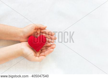 Hands Holding Red Heart On White Isolated Background, Copy Space, Concept Of Love, Hope,healthcare,o