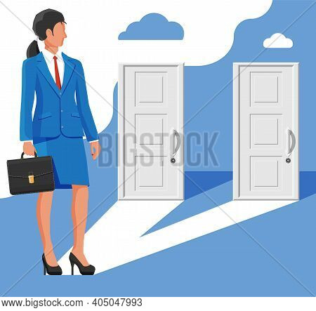 Businesswoman Standing In Front Of Two Closed Doors. Choice Way. Symbol Of Decision And Choice, Oppo