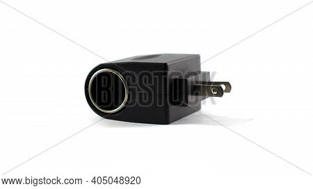 The Adapter Is Separated From The White Background. And Has The Ability To Convert From A Home Elect