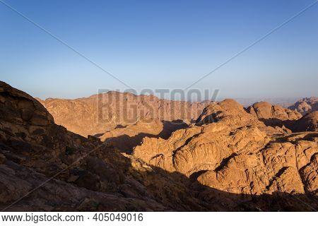Sunrise At Mount Sinai Summit. Road On Which Pilgrims Climb The Mountain Of Moses. Egypt, Sinai, Mou