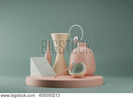 Abstract Pastel Colored Composition Of Geometric Primitive Shapes. Balance Concept. Stage For Produc