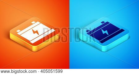 Isometric Car Battery Icon Isolated On Orange And Blue Background. Accumulator Battery Energy Power