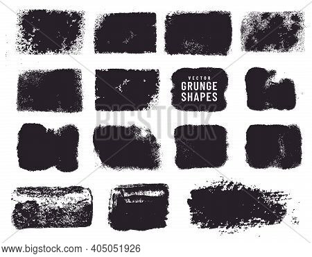 Grunge Shapes And Ink Stains Isolated On White Background. Black Vector Design Elements For Frame, C