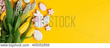 Sweets For Celebrate Easter. Gingerbread In Shape Of Easter Bunny, Flowers And Easter Eggs, Seasonal