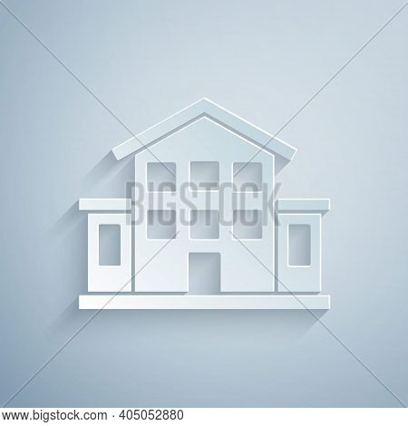 Paper Cut House Icon Isolated On Grey Background. Home Symbol. Paper Art Style. Vector