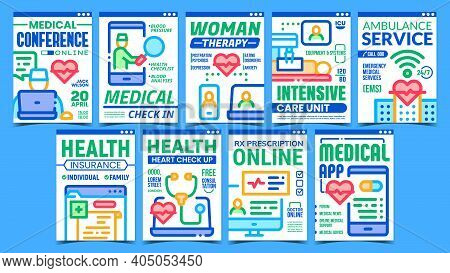 Telemedicine Creative Promotion Posters Set Vector. Medical Check In And Check Up, Online Conference