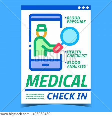 Medical Check In Creative Promotion Banner Vector. Health Checklist, Medicine Blood Pressure And Ana