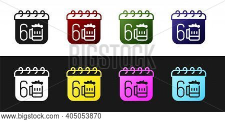 Set Saint Patricks Day With Calendar Icon Isolated On Black And White Background. Four Leaf Clover S