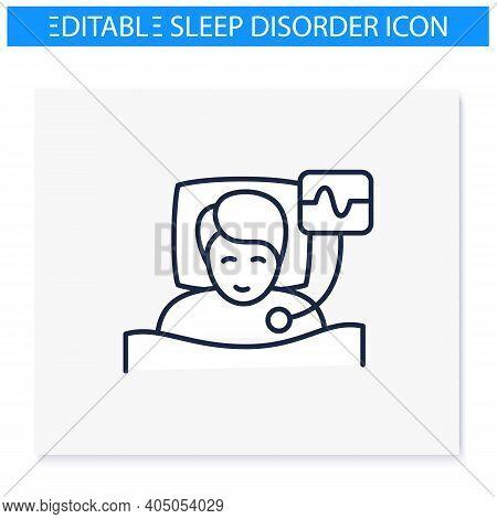 Polysomnography Line Icon. Sleep Study. Heart, Sleep Examination. Sleep Disorder. Healthy Sleeping C