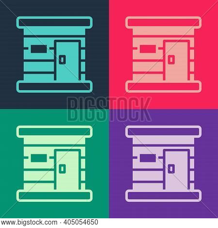Pop Art Sauna Wooden Bathhouse Icon Isolated On Color Background. Heat Spa Relaxation Therapy Bath A
