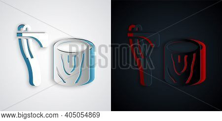Paper Cut Wooden Axe In Stump Icon Isolated On Grey And Black Background. Lumberjack Axe. Axe Stuck