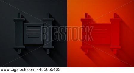 Paper Cut Decree, Paper, Parchment, Scroll Icon Icon Isolated On Black And Red Background. Chinese S