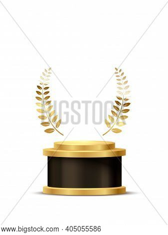 Award Trophy With Podium And Golden Laurel. Gold Prize On Black Round Podium. Champion Glory In Comp