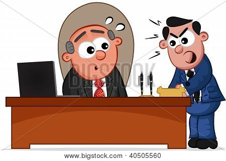 Business Cartoon - Angry Employee Shouting at His Boss