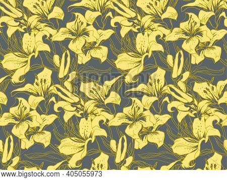 Trendy Color Yellow Illuminating Silhouettes Of Lily Flowers, Buds And Leaves On Ultimate Gray Backg