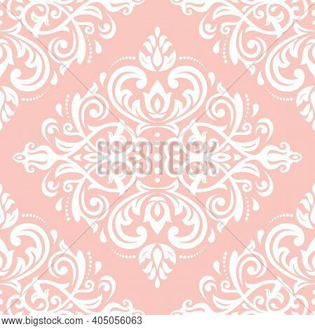 Classic Seamless Pattern. Damask Orient Ornament. Classic Vintage Pink And White Background. Orient