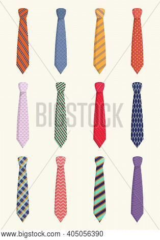 Ties For All Occasions Set. Trendy Orange Striped Textiles With Red Checkers Pink Wavy With Blue Mes