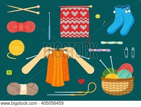 Knitting Set. Textile Handicrafts With Red And Yellow Skeins Woolen Threads Knitting Needles Warm Bl