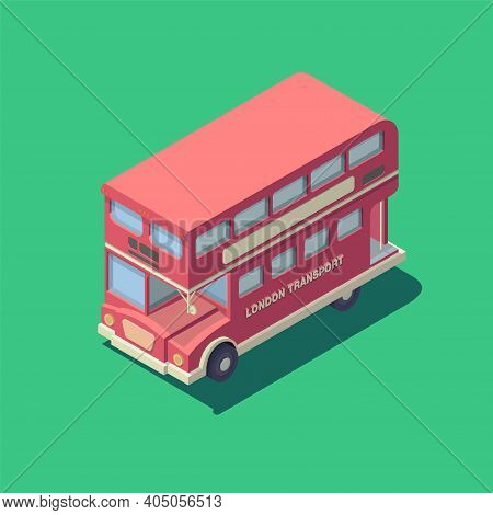 Vector Isometric English Bus Icon. Red British Double-decker Bus.